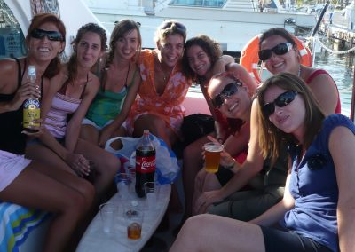 P1010271 Hen party on boat in Malaga