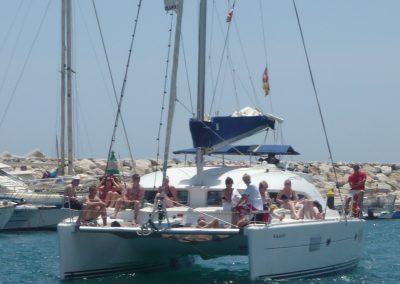 P1020055 Paseo en barco con amigos y familiares, catamarán en Málaga